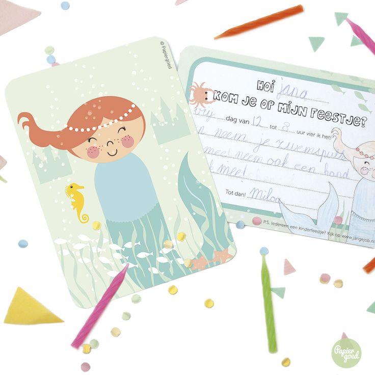 Uitnodiging kinderfeestje Zeemeermin, ook voor een zwemfeestje. Meer uitnodigingen op www.zizimala.nl