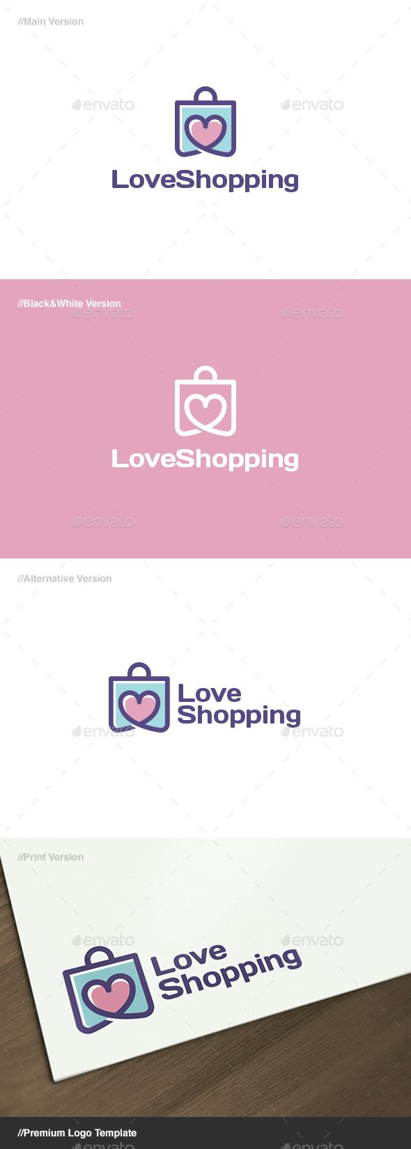 Love Shopping: is a logo that can be used in shopping websites, software and applications shopping, shopping blogs, among other us