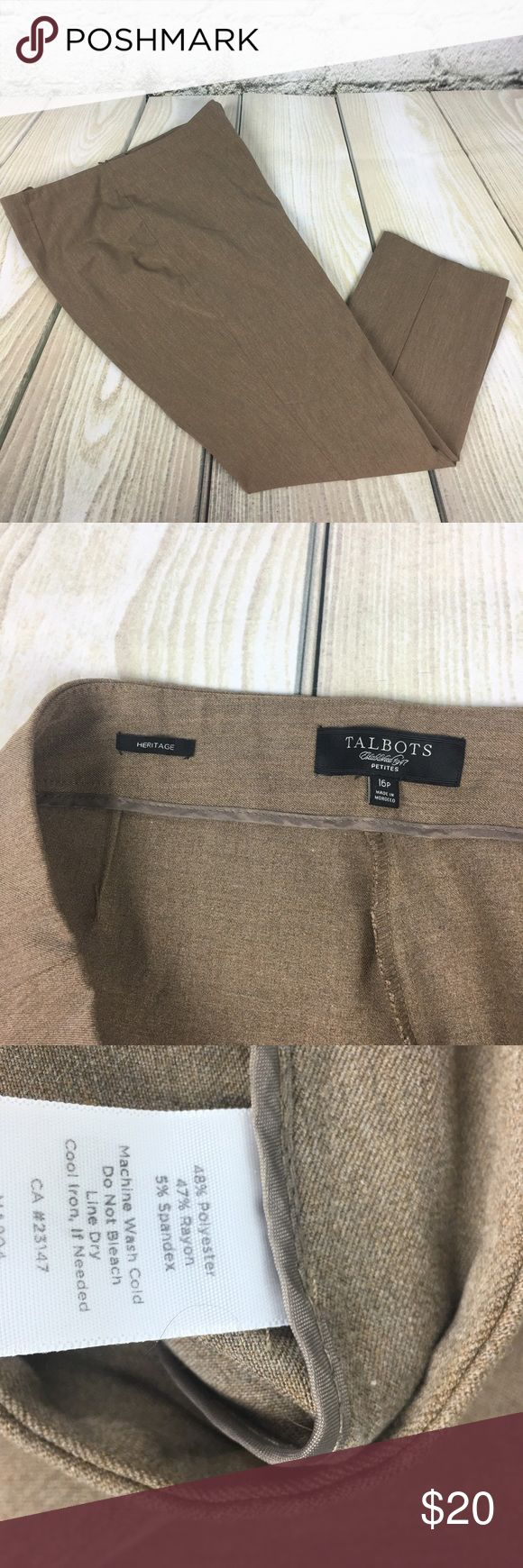 "Talbots Heritage Sandy Beige dress pants sz 16P Great staple for the office. Size 16 Petite. Measures 18"" across the waist laying flat. Inseam- 27"". Excellent Condition Talbots Pants"