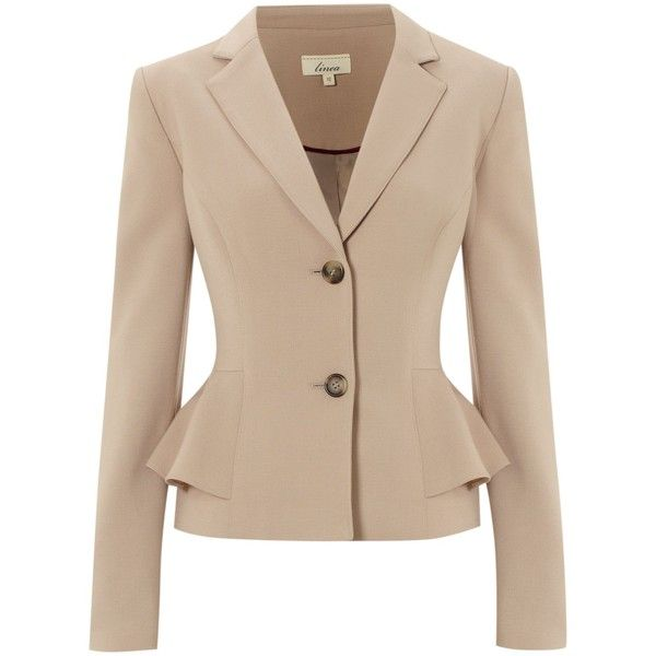 Linea Peplum jacket featuring polyvore fashion clothing outerwear jackets blazers coats & jackets coats natural long sleeve peplum jacket beige jacket tailored jacket collar jacket single breasted jacket