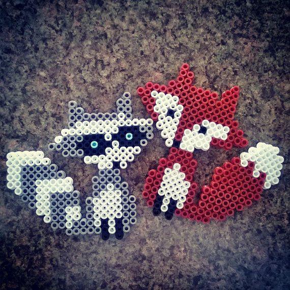 Racoon & Fox Perler Bead Magnet Set by PrebreakofdawnCrafts