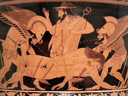 Ο Θάνατος και ο Ύπνος μεταφέρουν το νεκρό κορμί του Σαρπηδόνα. Παράσταση από ερυθρόμοφρο κύλικα των αρχών του 5ου αι. π.Χ., Βρετανικό Μουσείο, Λονδίνο...