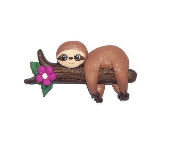 Handmade Sloth Polymer Clay Pendant/Magnet/Bead/Figure