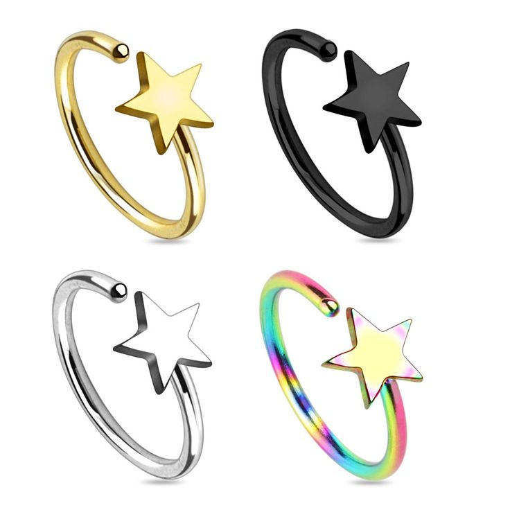 Star Titanium IP 316L Surgical Steel Nose Ring