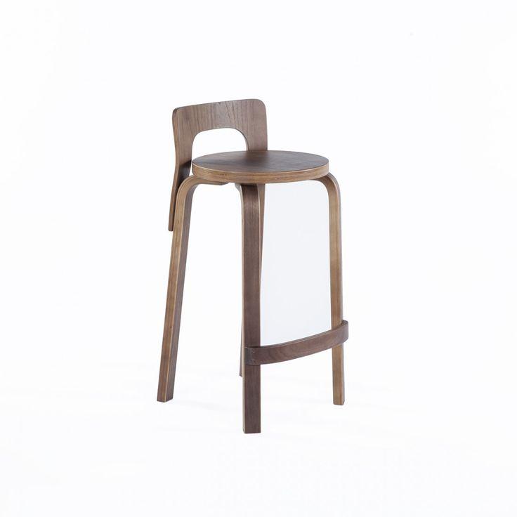 "Low Back Counter Stool K65 - 25.6"" SH Alvar Aalto"