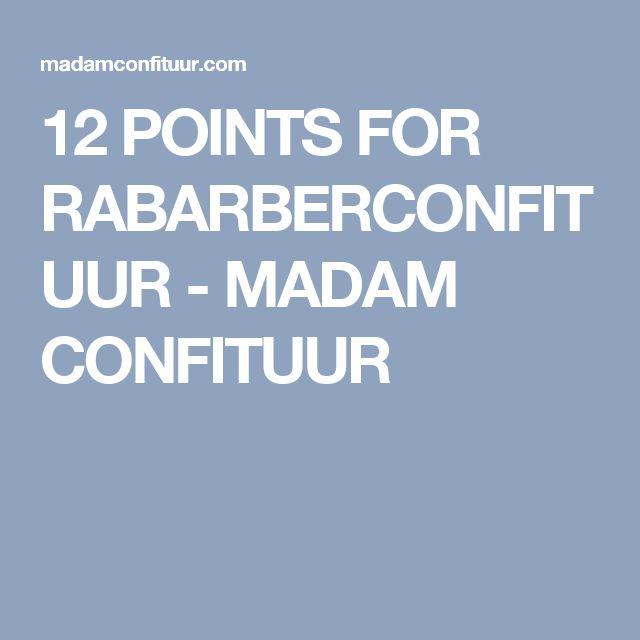 12 POINTS FOR RABARBERCONFITUUR - MADAM CONFITUUR