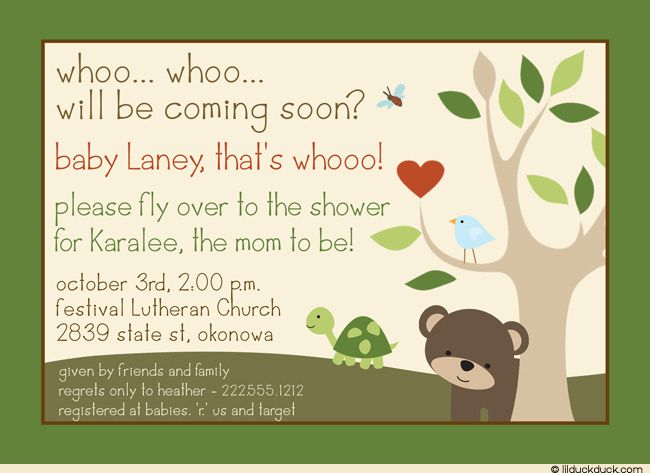cutest baby shower invitations | Tree Tops Baby Shower Invitation - Green Forest Cute Animals
