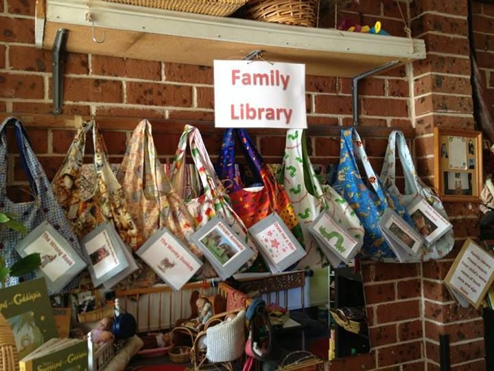 """Family Library"" Idea: Families Can Borrow a Book in a Bag to Read With Their Child at Home (from Puzzles Day Care: https://www.facebook.com/PuzzlesFamilyDayCare?hc_location=stream)"