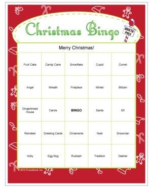 Christmas Bingo - printable game that scrambles any customized word list. Printable Christmas game.