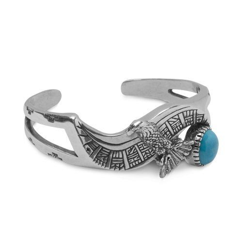 """Southwest Spirit Roderick Tenorio Sterling Silver Turquoise Eagle Cuff Bracelet Southwest Spirit. $229.98. Genuine Sterling Silver. Inside Circumference Measures 5-1/2"""". Lifetime Warranty on Jewelry. Natural Gemstones: Turquoise. Authentic Roderick Tenorio Designer Jewelry. Save 19%!"""