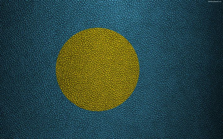 Download wallpapers Flag of Palau, 4k, leather texture, Oceania, Palau, flags of the world