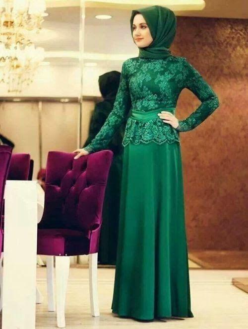 Baju Pesta Muslim Brokat Modern