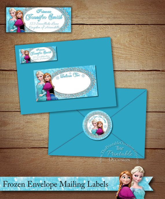 Frozen Address Labels and Envelope Seal, Frozen Return Address Label, DIY Printable Envelope Mailing Labels, Frozen Mailing Envelope Labels