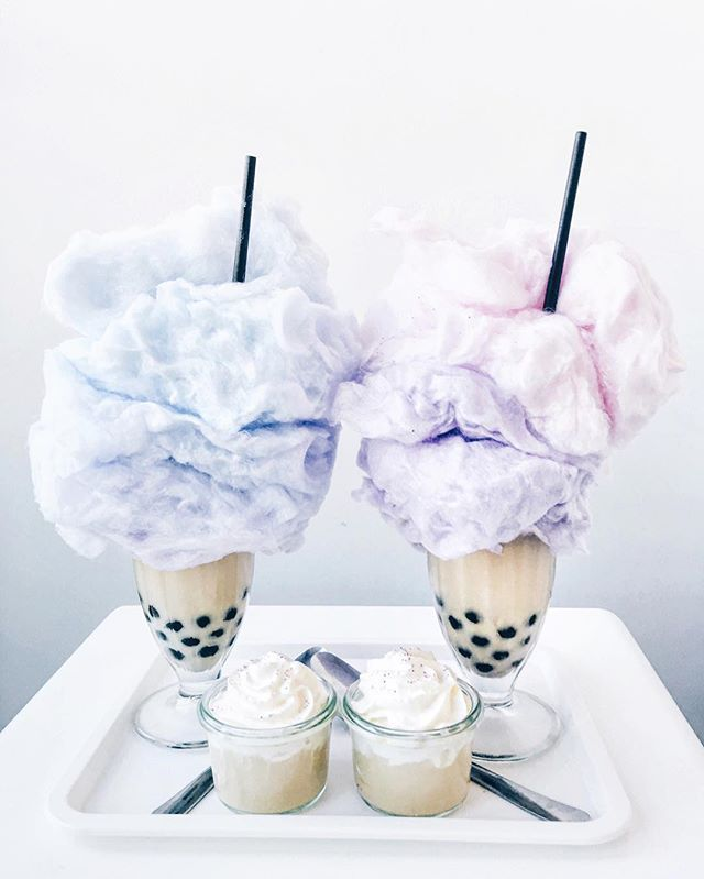 Cotton candy boba tea