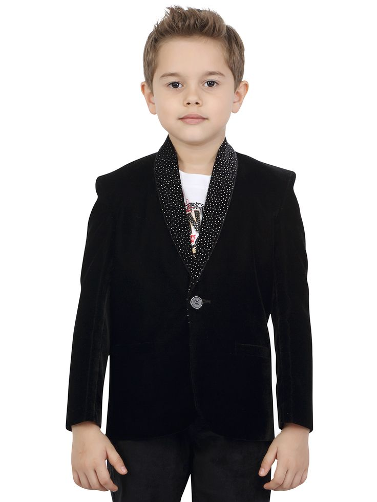 G3 Exclusive Black Velvet Plain Boys Blazer
