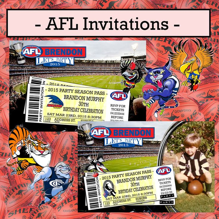 Print Your Own Invitations - AFL Footy - All Teams (Carlton, Essendon, etc)