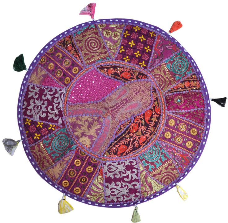 Purple 22  Big Round Floor Pillow Cushion Indian Foot Stool Bean Bag tapestry