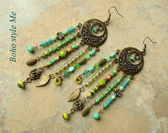 Boho Gypsy Earrings, Nature Assemblage Chandelier Earrings, Blue Green, Bohemian Jewelry, Boho Style Me, Kaye Kraus