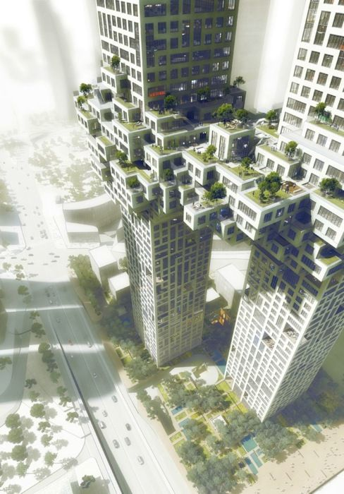 Seoul, South Korea The apartment complex towers, one with 54 floors and the other with 60, are designed by Dutch architects MVRDV and will be built at the entrance to Seoul's redeveloped Yongsan business district by 2016.