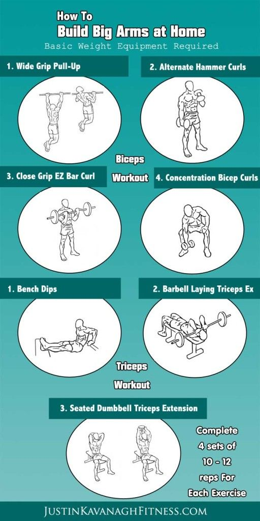 Here are my top bicep and triceps exercises to help you build big arms at home.