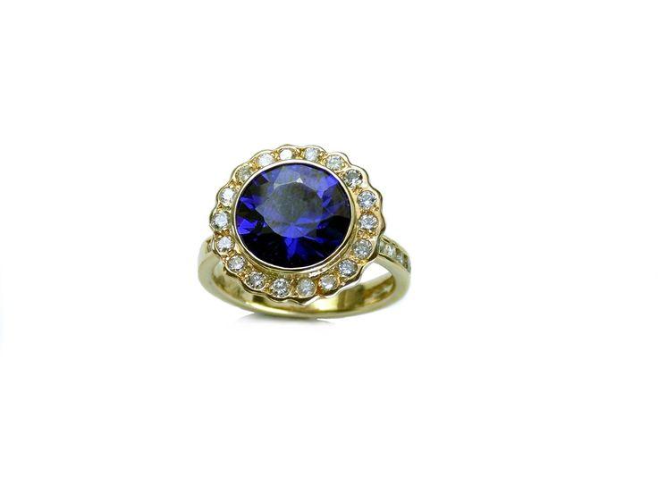 www.sylviabarcena.com jewelry designs HBD Syl gold ring blue tanzanita  diseños de joyeria personalizados plata oro