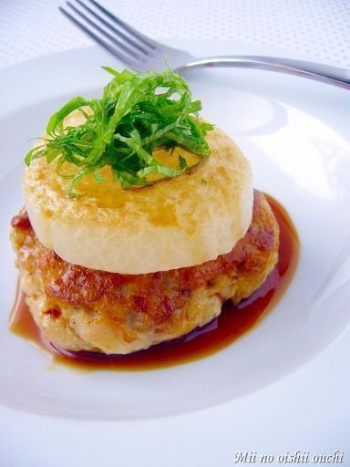 豚こま豆腐ハンバーグ&とろとろ大根のせ♪柚子こしょうソース