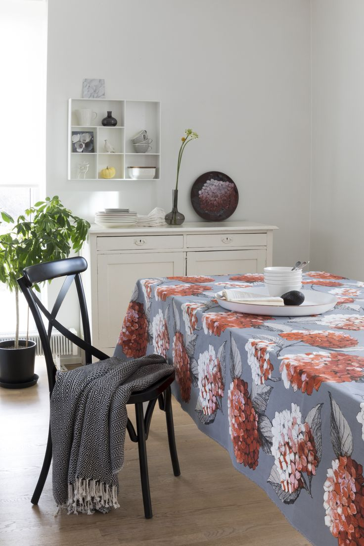 Hortensia Fabric | Pentik | Beloved Hortensia fabric comes in different colours. Designer Minna Niskakangas sketched the original drawing of hydrangea on plywood with pencil and pastel. The fabric is made of 100 % cotton and its width is 150 cm.