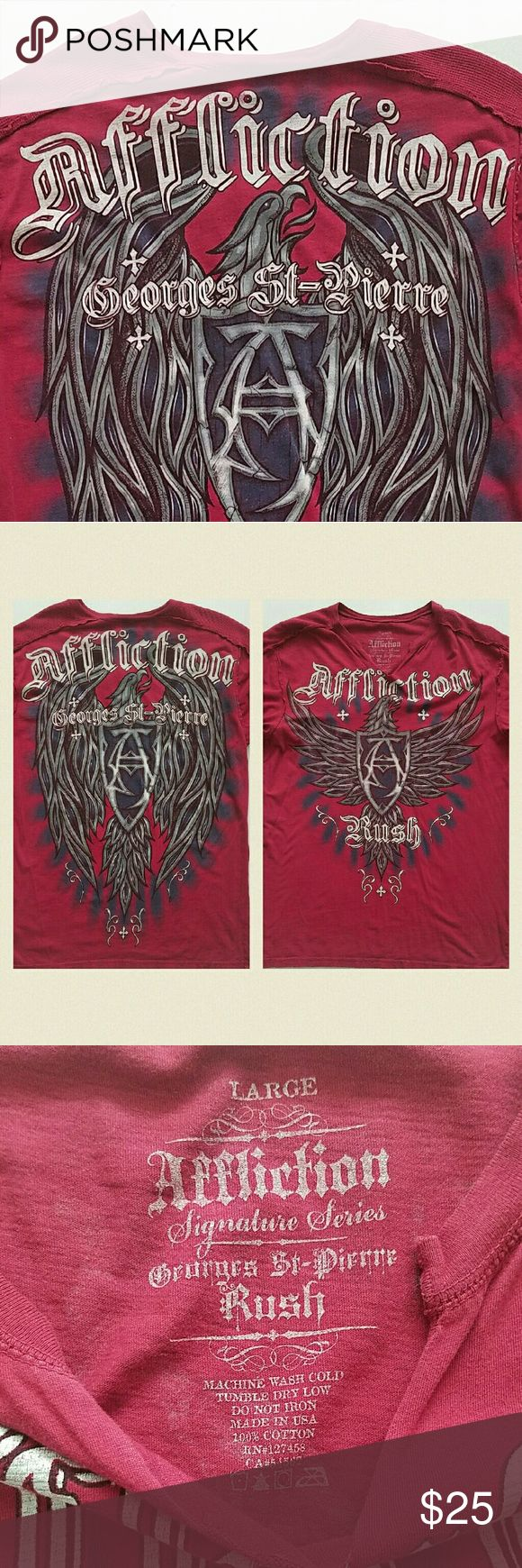 Affliction Rush GSP Tshirt Georges st pierre affliction shirt.  Good used condition, minor stitching came loose at bottom, shown in last pic. Affliction Shirts