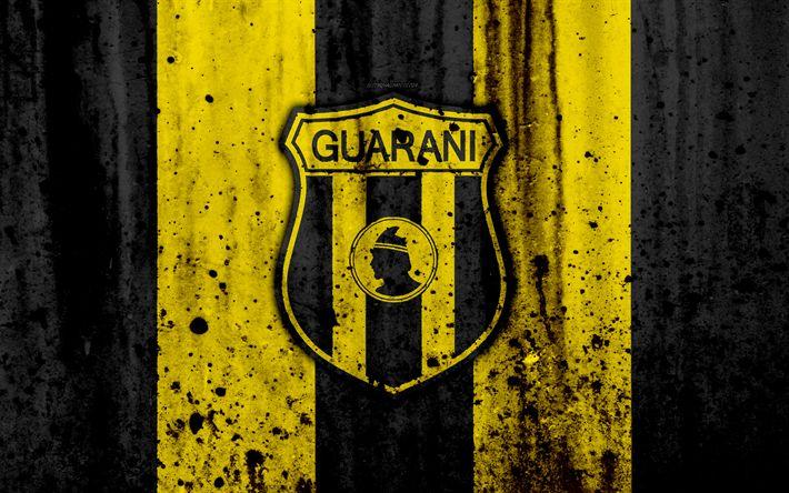 Download wallpapers 4k, FC Guarani, grunge, Paraguayan Primera Division, soccer, football club, Paraguay, Club Guarani, art, logo, stone texture, Guarani FC
