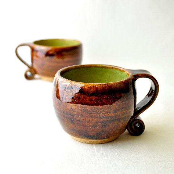Ceramic Tea Cups Hobbit Mugs in Green Chartreuse by GlazedOver, $46.00