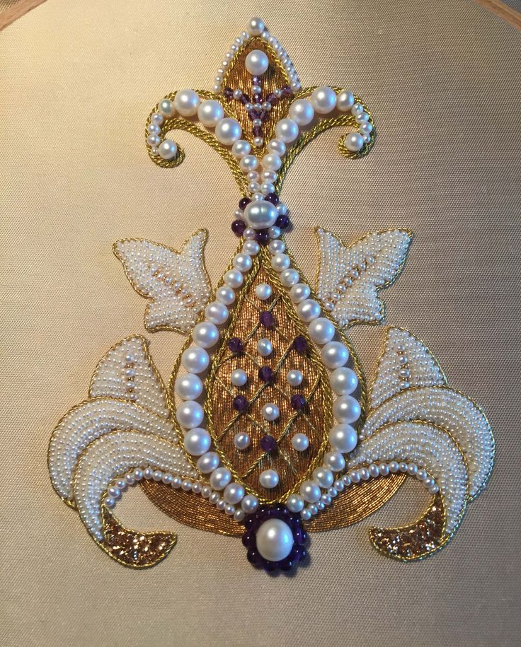 My new embroidery. Pomegranate flower, pearl and goldwork embroidery. (By Larissa Borodich) from Mary Corbet's free pattern collection