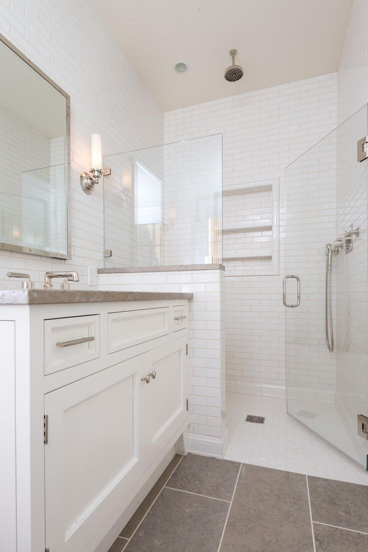 This Basic Bathroom Style Becomes More Streamlined And Contemporary With  Tile Walls, Shelving Built Into Part 98