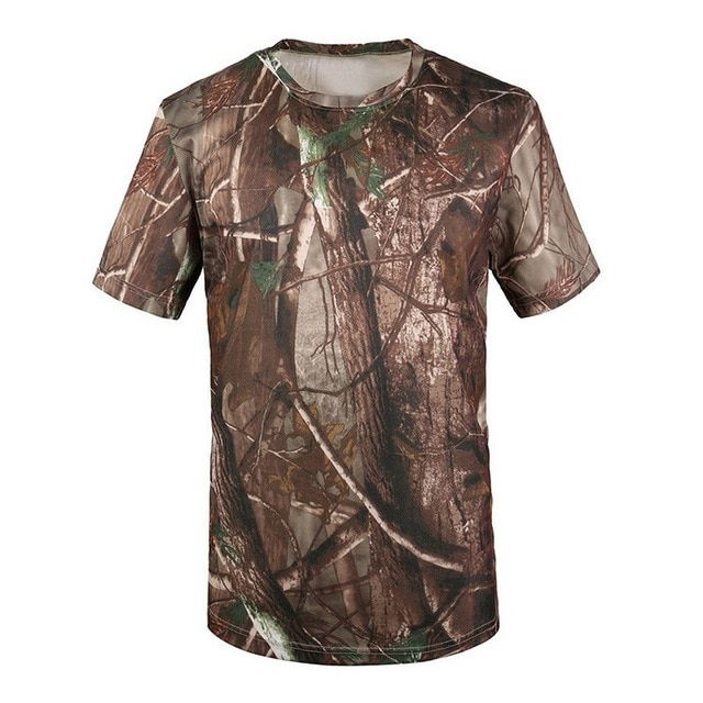 Outdoor Camouflage Shirts Camping Tactical T-shirts Men Hiking Hunting Quick Dry Short Sleeve Army Camo Military Shirts Wrench