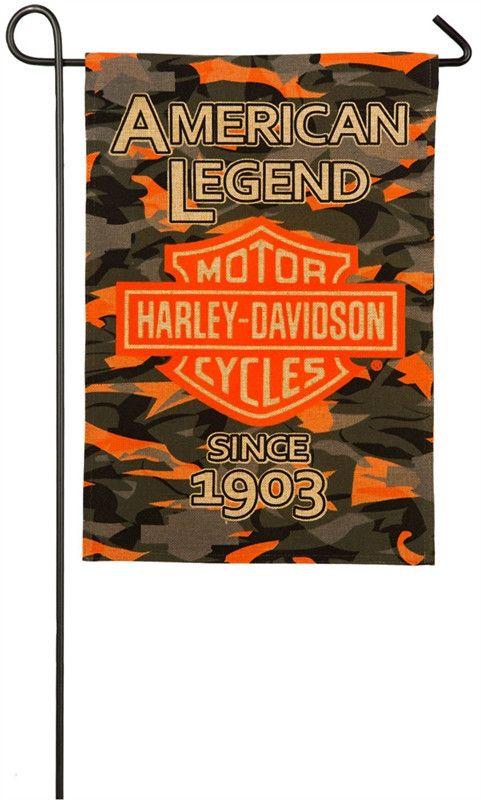 Harley Davidson Camo Bar & Shield Burlap Garden Flag