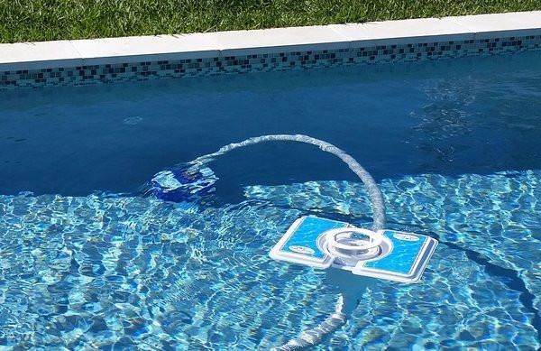 """Sometimes, a stationary pool skimmer just isn't enough... Take pool cleaning to the next level with Skim-A-Round """"As Vac Attachment"""". The Ultimate Pool Skimmer."""