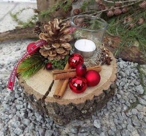 Weihnachten Advent Holz Gesteck Teelicht auf Holzscheibe rot natur 2