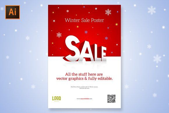 Mall Store Sale Poster 3D Logo by PURE DESIGN on @creativemarket