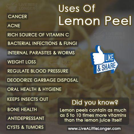 Uses Of Lemon Peel #health #nature For More: www.livealittlelonger.com