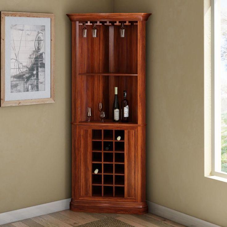Louis Rustic Solid Wood Corner Bar Cabinet Corner Bar Ideas