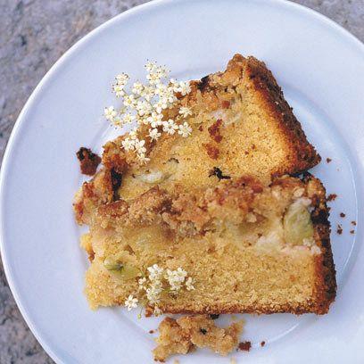 Gooseberry crumble cake.
