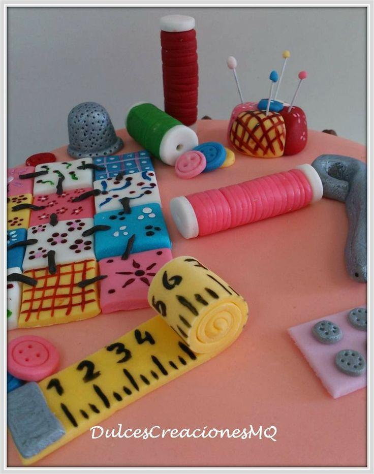 Tarta patchwork costurero manualidades pastel torta - Manualidades para adultos ...