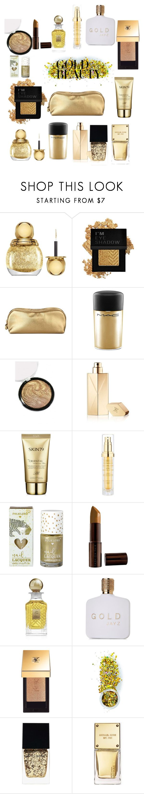"""Gold theme Makeup bag! #677"" by earthelglowing on Polyvore featuring Christian Dior, Forever 21, Rodo, MAC Cosmetics, Maison Francis Kurkdjian, Skin79, Hampton Sun, Fashion Fair, Kilian and Yves Saint Laurent"