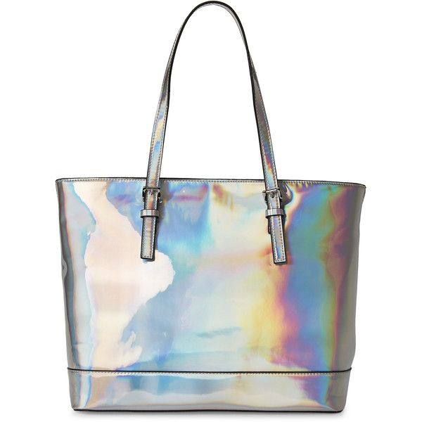 Urban Expressions Silver Pegasus Tote ($40) ❤ liked on Polyvore featuring bags, handbags, tote bags, metallic, white handbag, metallic handbags, white tote, silver tote bag and metallic tote