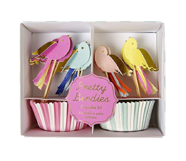 Cupcake kit, rosa og blått med fugler, 24 stk
