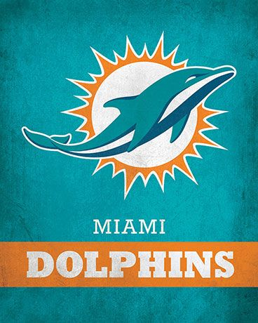 NFL - Miami Dolphins Logo $24.99 Exhibit your love for the Miami Dolphins with this 16x20 Printed Canvas Logo from ScoreArt. This classic print is perfect for the sports fan in your life.  #NFL #Miami #Dolphins #MiamiDolphins #Sports #ScoreArt #Football
