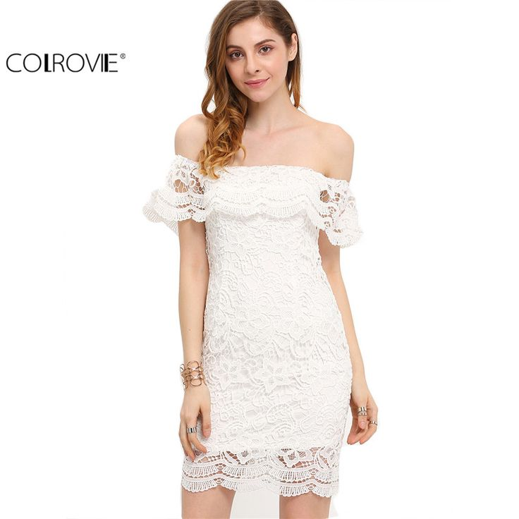 COLROVIE Summer Style Sexy Women Mini Dresses White Off the Shoulder Short Sleeve  Strapless Lace Ruffle Bodycon Dress