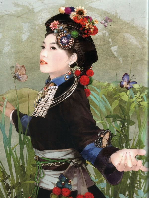 There are 56 ethnic groups in China that have been specifically recognized by the government. In this series, Taiwanese artist Chen Shu Fen (陈淑芬) has painted stunning portraits of women from each one in their traditional dress. This one here is of a Achang woman.