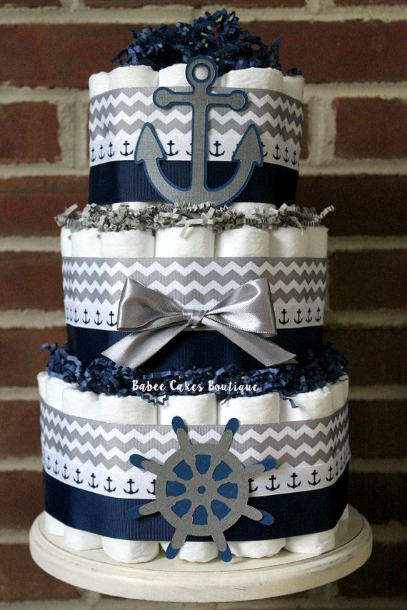 3 Tier Nautical Diaper Cake, Gray and Navy Boy Nautical Baby Shower, Anchor, Nautical Baby Shower Centerpiece, Grey Red Navy Chevron,
