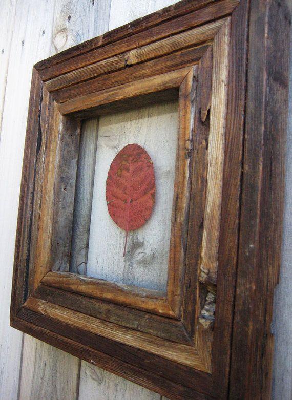 Rustic Reclaimed Wood Frame With Pressed Leaf. Autumn Wall Decor. Red Leaf. Leaf Wall Decor. Salvaged Wood Frame.. $226.00, via Etsy.
