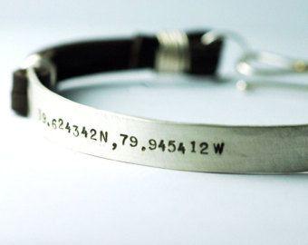 Dad bracelet personalized custom Leather Cuff Bracelet for men - Latitude Longitude - Jewelry for HIM - original design Groom Gift